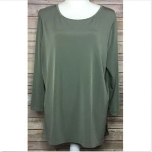 Chicos Easywear Solid Casual Blouse Olive Green 3